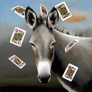 """Robert Deyber Artist Signed Limited Edition Hand-crafted Stone Lithograph:""""The Jack Ass (Playing Cards)"""""""