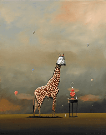 """Robert Deyber Artist Signed Limited Edition Hand-crafted Stone Lithograph:""""The Party Animal II – Giraffe"""""""