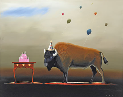 """Robert Deyber Artist Signed Limited Edition Hand-crafted Stone Lithograph:""""The Party Animal III - Buffalo"""""""