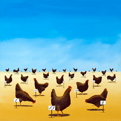 """Robert Deyber Artist Signed Limited Edition Hand-crafted Stone Lithograph:""""The Pecking Order"""""""
