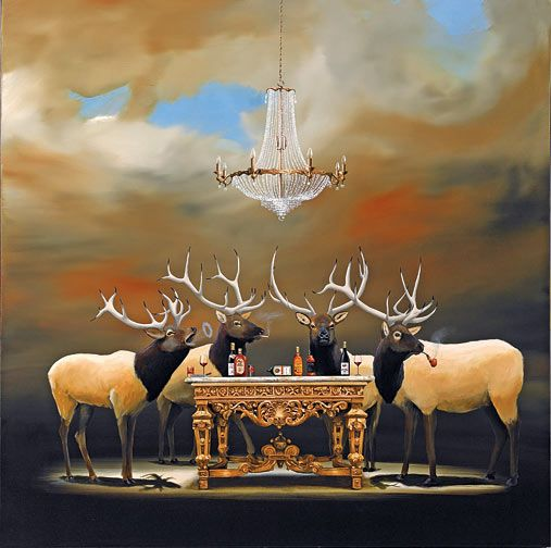 """Robert Deyber Artist Signed Limited Edition Hand-crafted Stone Lithograph:""""The Stag Party"""""""