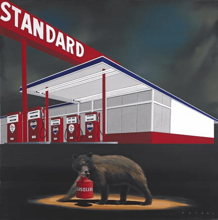 """Robert Deyber Artist Signed Limited Edition Hand-crafted Stone Lithograph:""""The Standard Bear"""""""