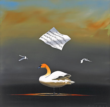 """Robert Deyber Artist Signed Limited Edition Hand-crafted Stone Lithograph:""""The Swan Song"""""""