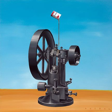 """Robert Deyber Artist Signed Limited Edition Hand-crafted Stone Lithograph:""""The Well Oiled Machine"""""""