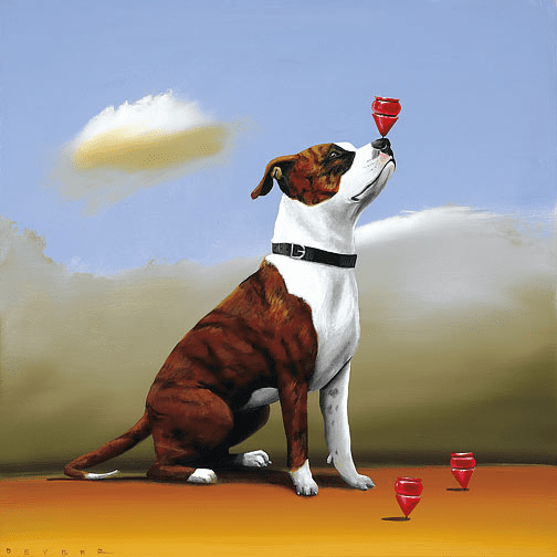 """Robert Deyber Artist Signed Limited Edition Hand-crafted Stone Lithograph:""""Top Dog"""""""