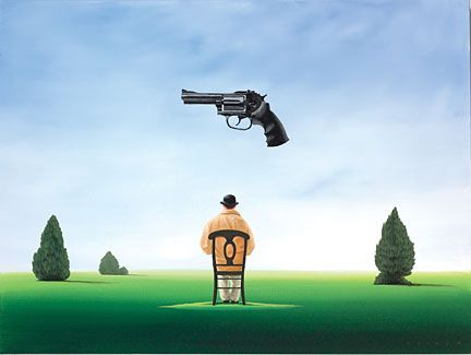 """Robert Deyber Artist Signed Limited Edition Hand-crafted Stone Lithograph:""""Under the Gun"""""""