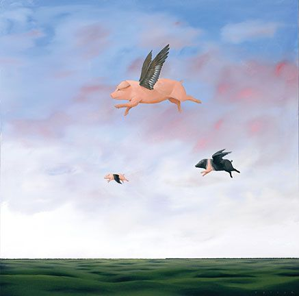 """Robert Deyber Artist Signed Limited Edition Hand-crafted Stone Lithograph:""""When Pigs Fly"""""""