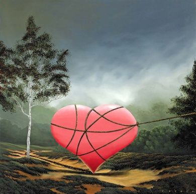 """Robert Deyber Artist Signed Limited Edition Hand-crafted Stone Lithograph:""""You Captured My Heart"""""""