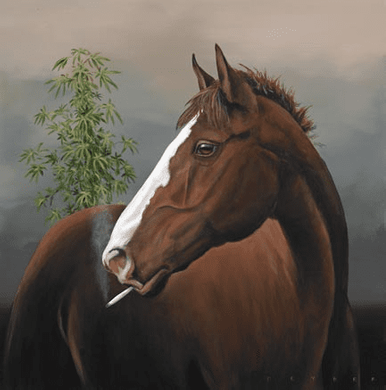 """Robert Deyber Artist Signed Limited Edition Hand-crafted Stone Lithograph:""""Your High Horse"""""""