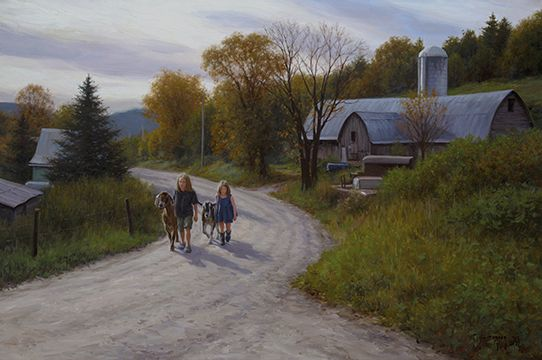 """Robert Duncan Hand Signed and Numbered Limited Edition Canvas Giclee:""""Down Spring Road"""""""