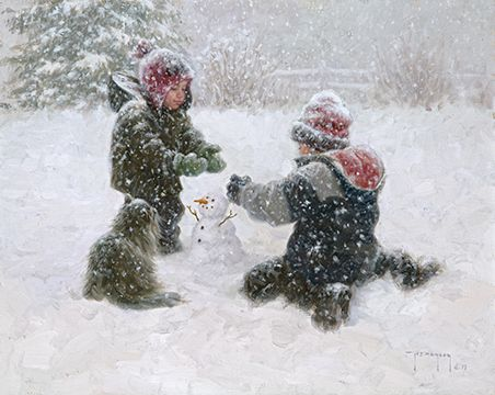 """Robert Duncan Hand Signed and Numbered Limited Edition Canvas Giclee:""""The First Snowman"""""""