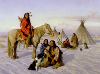"""Robert Duncan Handsigned and Numbered Limited Edition Print:""""Winter Camp"""""""
