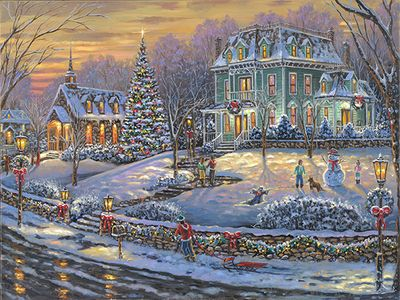 """Robert Finale Christmas Canvas Giclee:""""Merry Christmas to All"""""""