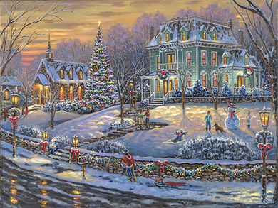 "Robert Finale Christmas Canvas Giclee:""Merry Christmas to All"""