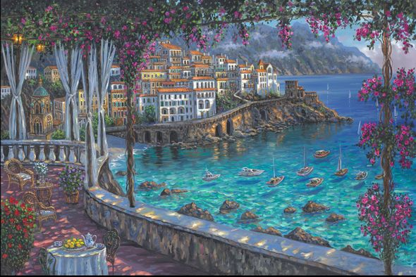 "Robert Finale Hand Signed and Numbered Limited Edition Hand-Embellished Giclee on Canvas:""Amalfi Coast"""
