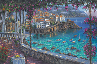 """Robert Finale Hand Signed and Numbered Limited Edition Hand-Embellished Giclee on Canvas:""""Amalfi Coast"""""""