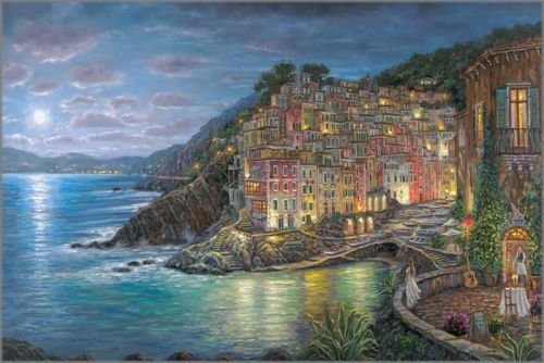 "Robert Finale Hand Signed and Numbered Limited Edition Hand-Embellished Giclee on Canvas:""Awaiting My Love, Riomaggiore"""