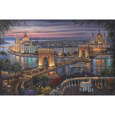 """Robert Finale Hand Signed and Numbered Limited Edition Hand-Embellished Giclee on Canvas:""""Budapest"""""""