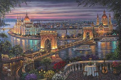 "Robert Finale Hand Signed and Numbered Limited Edition Hand-Embellished Giclee on Canvas:""Budapest"""