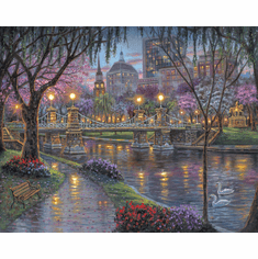 """Robert Finale Artist Signed Limited Edition Hand-Embellished Giclee on Canvas:""""Boston, Lagoon Bridge"""""""