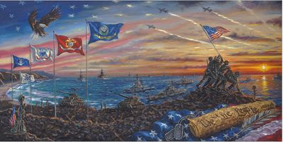 """Robert Finale Artist Signed Hand-Embellished Limited Edition Canvas Giclee:""""We the People"""""""