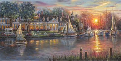 "Robert Finale Limited Edition Hand-Embellished Giclee on Canvas:""Chesapeake Sunrise"""