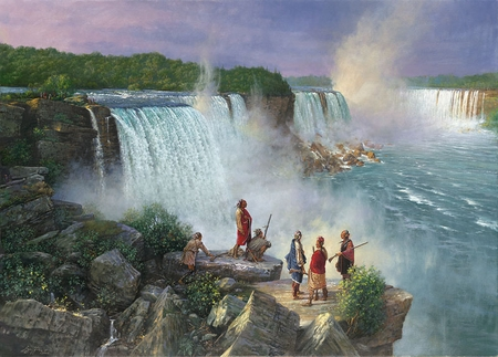 """Robert Griffing Limited Edition Lithograph: """"Thundering Water Ne-ah-ga  (Niagra Falls) Late 1700's"""""""