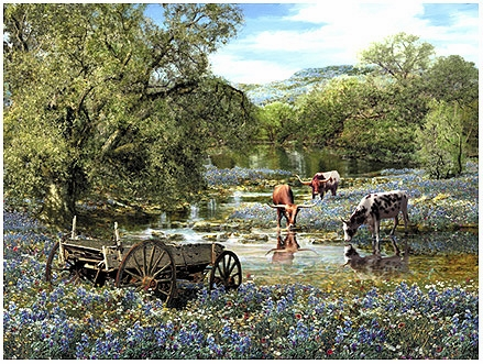 """Roberta Wesley Hand Signed and Numbered Limited Edition Canvas: """"Hill Country Blues """""""