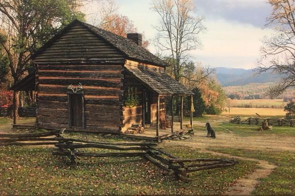 """Rod Chase Artist Hand Signed and Numbered Limited Editon Canvas Giclee:""""Autumn in Cades Cove"""""""