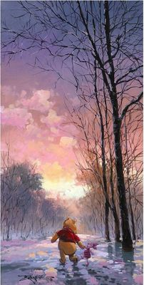 "Rodel Gonzalez Handsigned and Numbered Limited Edition Giclee on Canvas:""Snowy Path"""