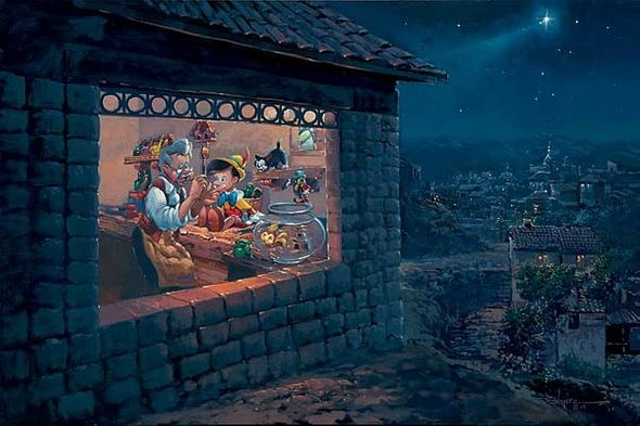 """Rodel Gonzalez Limited Edition Giclee on Canvas:""""The Wishing Star - Pinocchio"""""""