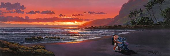 """Rodel Gonzalez Limited Edition Hand Embellished Giclee on Canvas:""""Aloha, My Friend - Lilo and Stitch"""""""