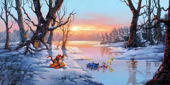 """Rodel Gonzalez Limited Edition Hand Embellished Giclee on Canvas:""""Playful Afternoon - Winnie the Pooh"""""""