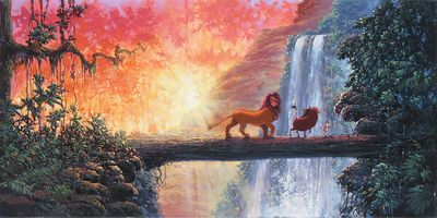 "Rodel Gonzalez Signed and Numbered Limited Edition Hand-Embellished Giclée on Canvas:""Hakuna Matata"""