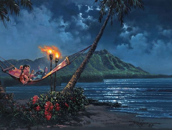 "Rodel Gonzalez Signed and Numbered Limited Edition Hand-Embellished Giclée on Canvas:""Hawaiian Serenade"""