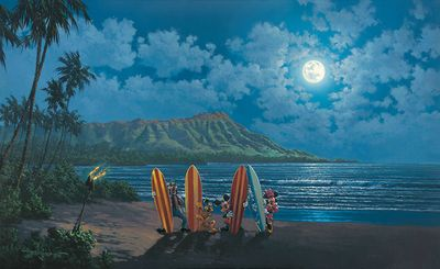 """Rodel Gonzalez Signed and Numbered Limited Edition Hand-Embellished Giclée on Canvas:""""Moonlight Surf Crew"""""""