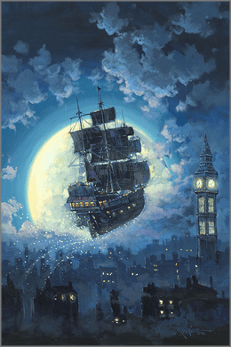 """Rodel Gonzalez Signed Limited Edition Hand-Embellished Canvas Giclée:""""Sailing Into the Moon"""""""