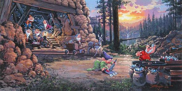"Rodel Handsigned and Numbered Limited Edition Disney Fine Art Canvas Giclee:""Where a Million Diamonds Shine"""