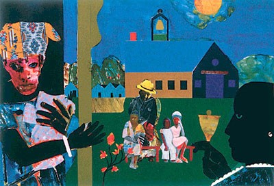 """Romare Bearden Limited Edition Signed Serigraph Ed. 950:""""School Bell Time"""""""
