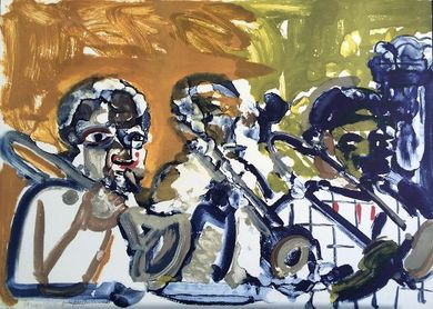 """Romare Bearden Signed Limited Edition Print on Paper:""""Brass Section (Jamming At Minton's), 1979"""""""