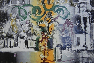 """Romare Bearden Signed Limited Edition Print on Paper:""""Introduction For A Blues Queen, 1979"""""""