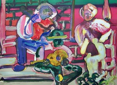 """Romare Bearden Signed Limited Edition Print on Paper:""""Louisiana Serenade, 1979"""""""