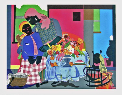 """Romare Bearden Signed Limited Edition Print on Paper:""""Morning, 1979"""""""