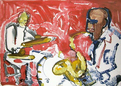 """Romare Bearden Signed Limited Edition Print on Paper:""""Out Chorus Rhythm Section, 1979"""""""