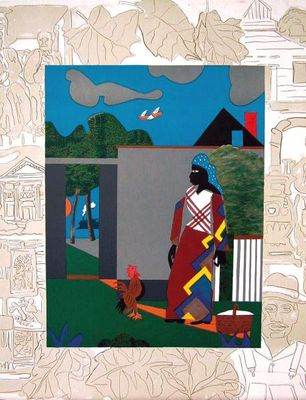 """Romare Bearden Signed Limited Edition Print on Paper:""""Pepper Jelly Lady, 1980"""""""