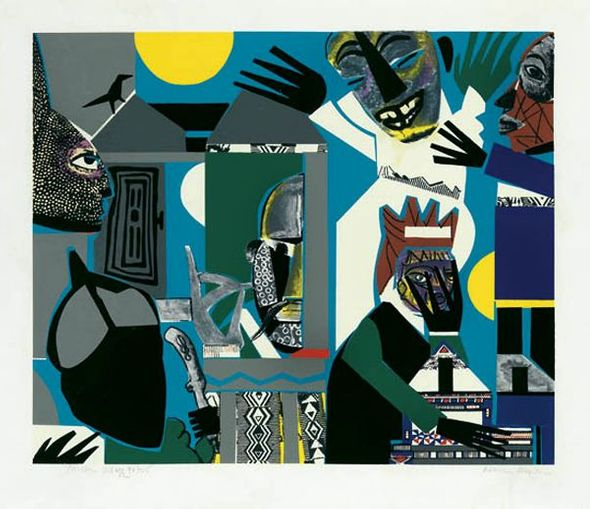 """Romare Bearden Signed Limited Edition Print on Paper:""""Sorcerer's Village (African Fantasy), 1975"""""""