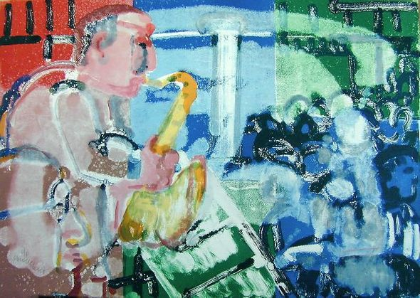 """Romare Bearden Signed Limited Edition Print on Paper:""""Stomp Time (Bopping At Birdland), 1979"""""""