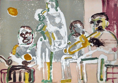 "Romare Bearden Signed Limited Edition Print on Paper:""Tenor Sermon, 1979"""