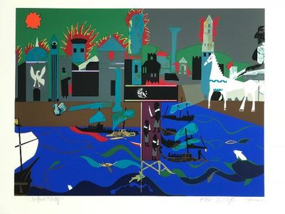 """Romare Bearden Signed Limited Edition Print on Paper:""""The Fall of Troy, 1979"""""""