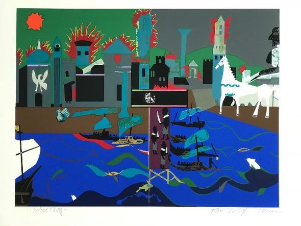 "Romare Bearden Signed Limited Edition Print on Paper:""The Fall of Troy, 1979"""